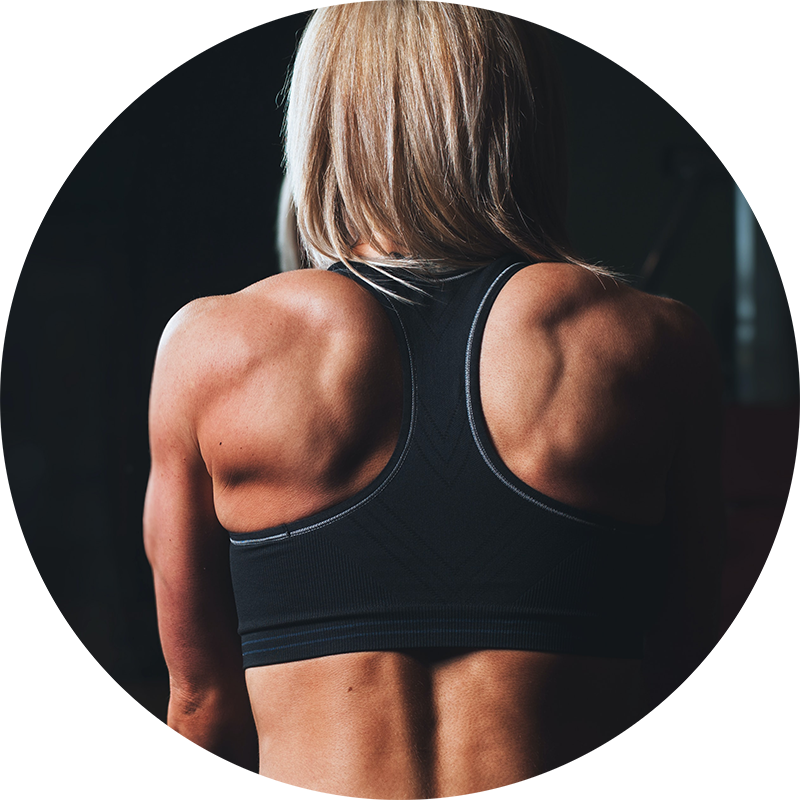 Back of athletic blond woman